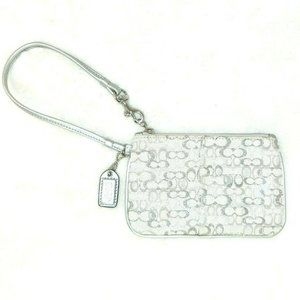 COACH Wristlet Shimmering Shiny Silver Signature